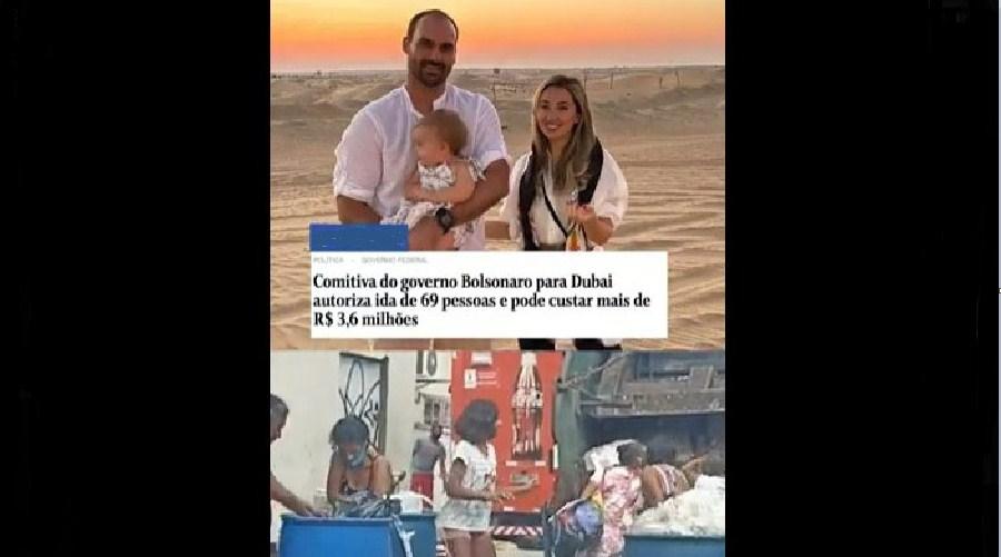 Governo Bolsonaro gasta R$ 3,6 mi com ida a Dubai, e brasileiros catam lixo para comer